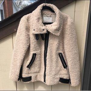 e68185d097bd ZARA Cream Faux Fur Jacket with Black Leather